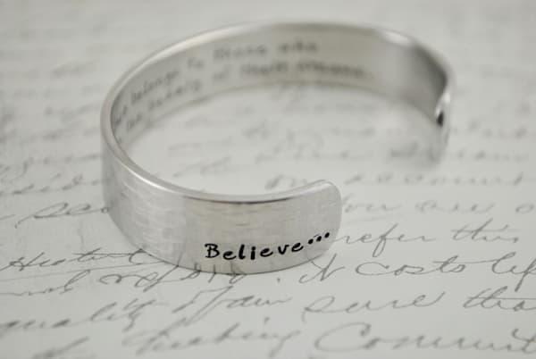 The Future Belongs to Those Who Believe in the Beauty of Their Dreams...Sterling Silver Cuff Bracelet by Kelly Berkey