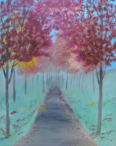 Path Through Red Autumn Art | Artist Ron Turner