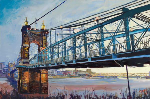 Tony Lipps Art Roebling Suspension Bridge Early morning