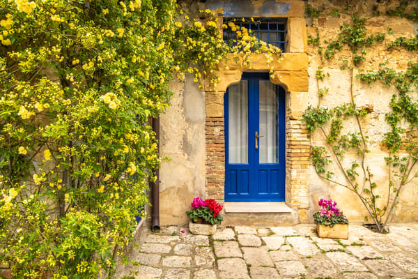 Blue Door and Red Flowers | Jim Parkin Fine Art Phtography