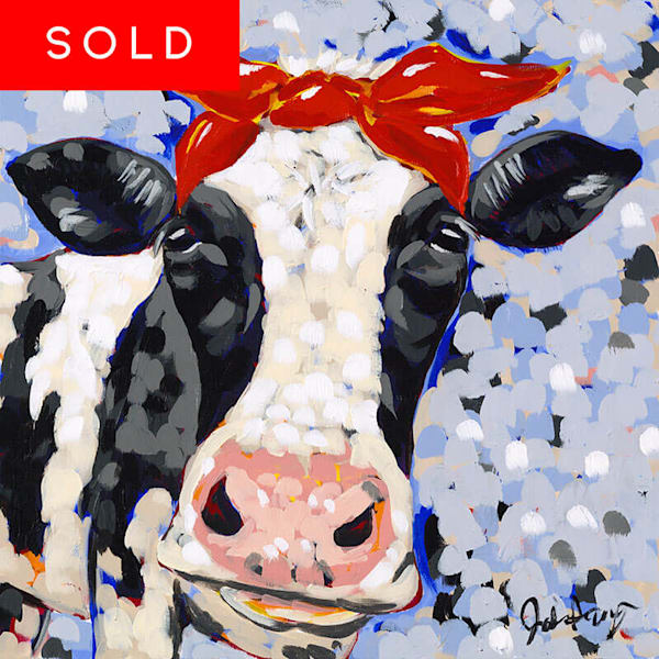 Jodi Augustine original acrylic painting of a cow named Bessie