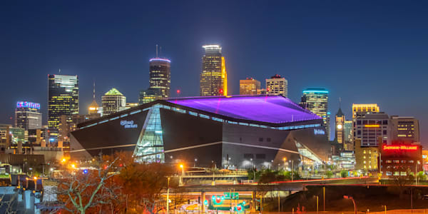 Vikings Purple Skyline - Pictures of the US Bank Stadium | William Drew