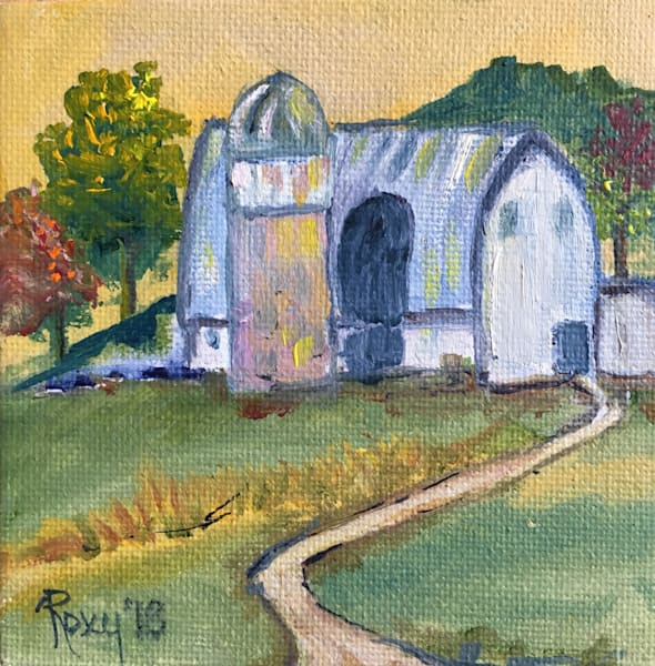 Countryside white barn with silo landscape painting.