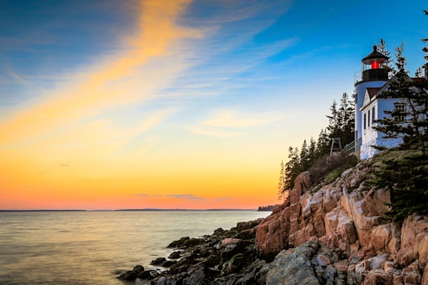Fine Art HDR print of Bass Harbor Head Light at sunset in Acadia National Park, Maine
