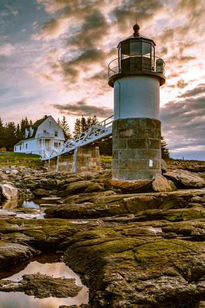 Fine Art Print of sunrise at Marshall Point Lighthouse in Port Clyde, Maine.