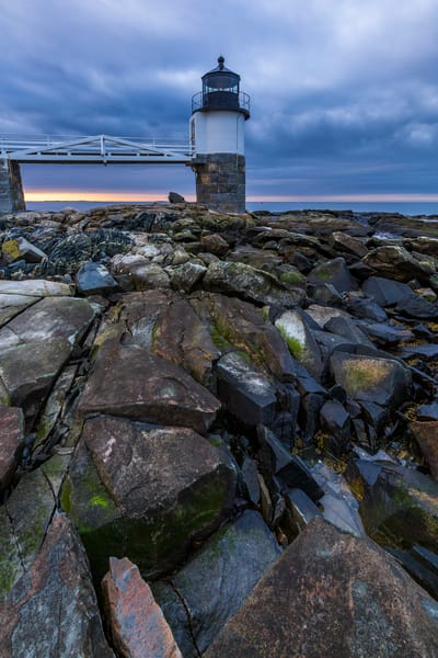 Fine Art Print of Marshall Point Lighthouse at sunrise, featuring the iconic rocks around the base of the light.