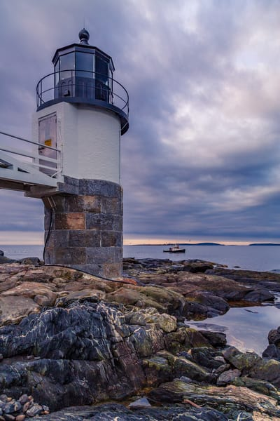 Fine Art Print of lobster fishermen working the waters off of Marshall Point Lighthouse in Port Clyde, Maine.