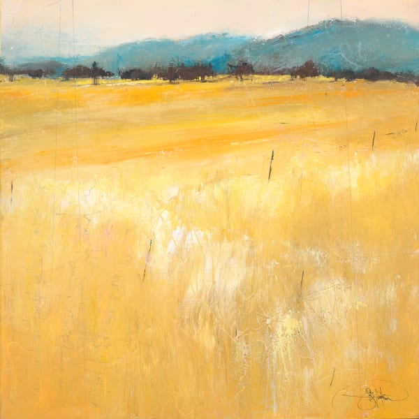 Elusive Fields of Thought, semi abstract landscape art by artist Sarah B Hansen