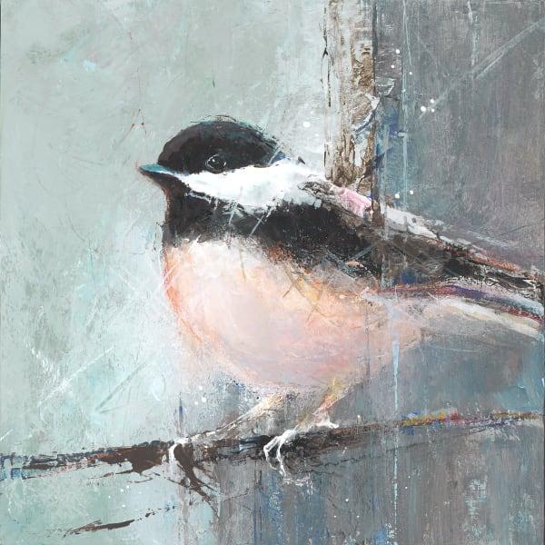Black-Capped Chickadee, bird art by artist Sarah B Hansen