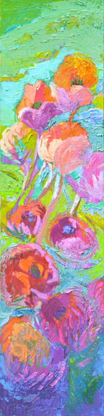 Tall Narrow Floral Oil Painting, Radiant Beauty by Dorothy Fagan