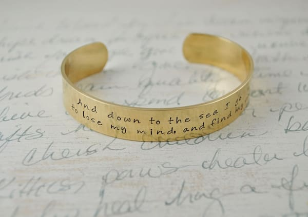 And down to the Sea I go to lose my mind and find my Soul Keepsake cuff bracelet by Kelly Berkey