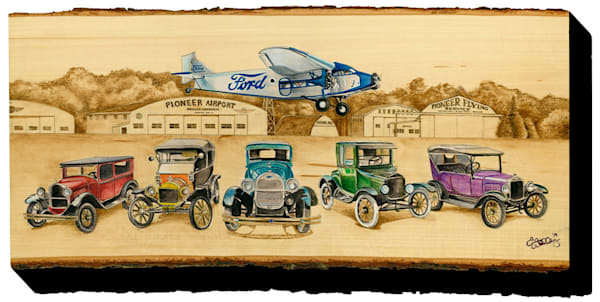 """Old Tin Goose and Rainbow Fords"" print form cut out by Emily Willey."