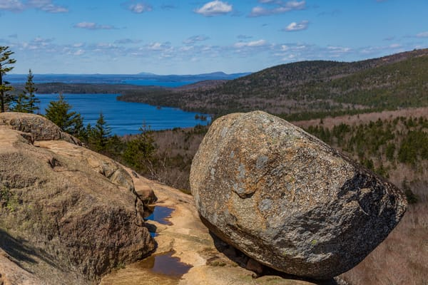 Fine Art Print of Bubble Rock, a glacial erratic in Acadia National Park, on Mount Desert Island, Maine.