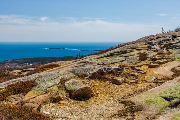 Fine Art Print of the famous pink granite on Cadillac Mountain, overlooking the Cranberry Isles and Atlantic Ocean from Acadia National Park, Maine.