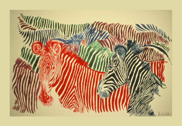 Zebras Monotype Giclee Art Prints by Dee Van Houten