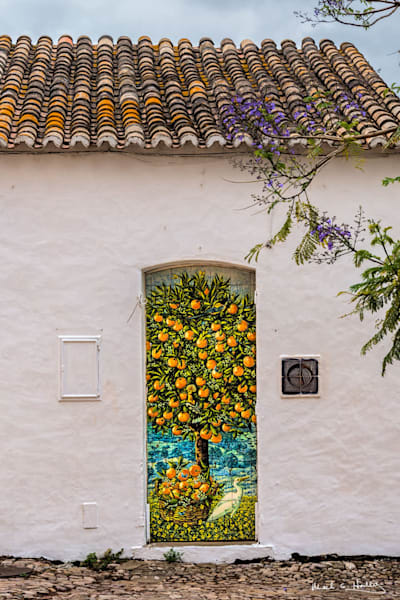 europe, portugal, Lagoa, door, painted, orange, white, old, architecture