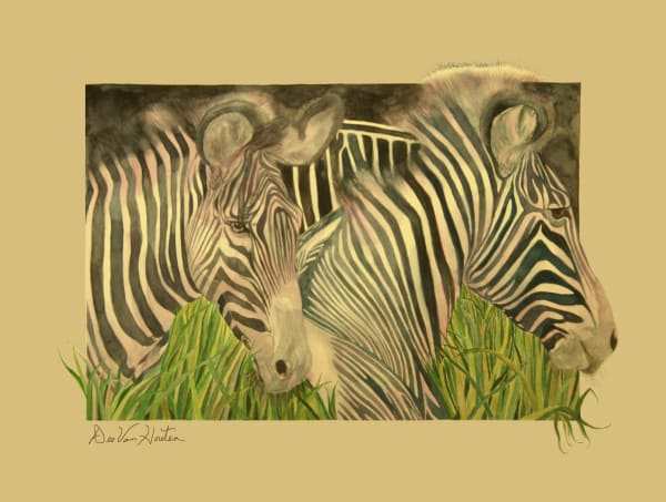 Blushing Stipes Zebra Painting by Dee Van Houten