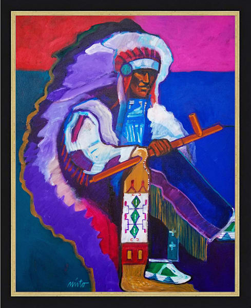 Little Wound Offers the Peace Pipe | John Nieto Original Painting