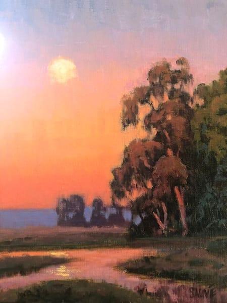 Wetland Sunset Moonrise painting
