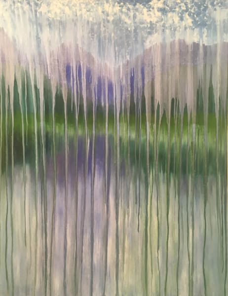 Rainy Moment 15 Lakeside Mountain Rain Original Oil Painting by Rachel Brask 30x40in