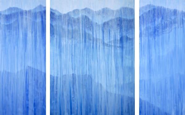 [Sold] Rainy Blue Ridge Mountains Triptych Original Oil Painting By Rachel Brask Art | Rachel Brask Studio, LLC