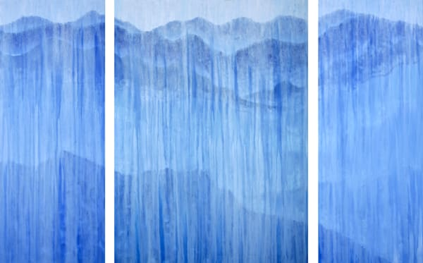 Rainy Blue Ridge Mountains Triptych Original Oil Painting by Rachel Brask