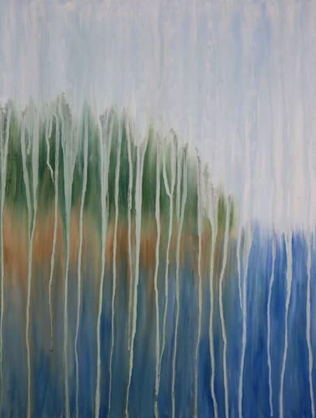 Rainy Maine Rocky Shore Original Oil Painting by Rachel Brask 18x24in