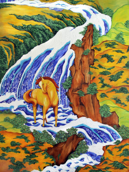 Yellow Horse, Blue Waterfall-painting-print-s