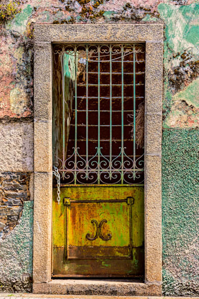 europe, portugal, Douro Valley, door, painted, green, white, old, architecture, art