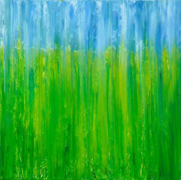 Field of Dandelions in Rain II Original Oil Painting by Rachel Brask