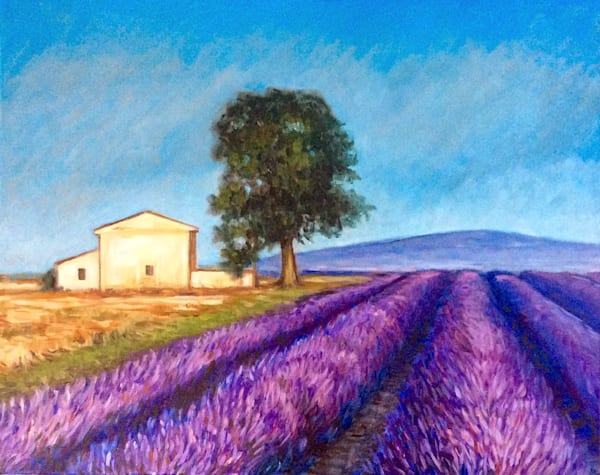Lavender fields at high noon Romantic Fine Art Original Oil Painting
