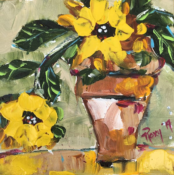 Bright Sunflowers in a Pot