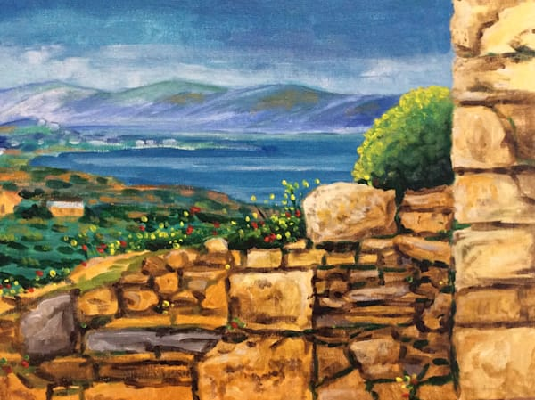 View from Cape Sounion Original Seascape Oil Painting by American Artist Hilary J. England