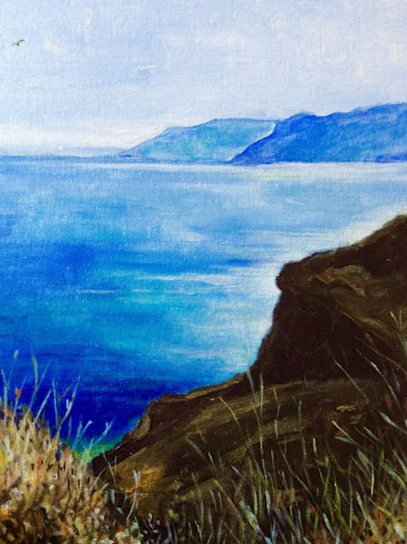Santorini on a soft day Original Landscape painting by American Artist Hilary J England