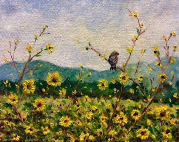 Chickadee in the sunflowers Original Oil Landscape painting by American Artist Hilary J England