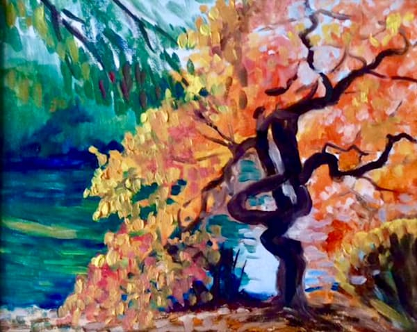 Twisted Tree by the River Framed Original Artwork Landscape Oil Painting by American Artist Hilary J England