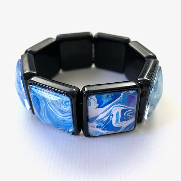 Blue White Hand Painted Stretch Bracelet | Deborah Younglao