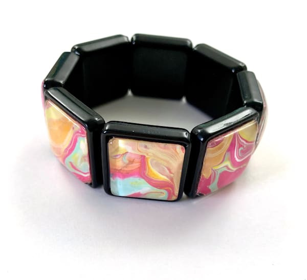 Spring Colors Hand Painted Acrylic Stretch Bracelet | Deborah Younglao
