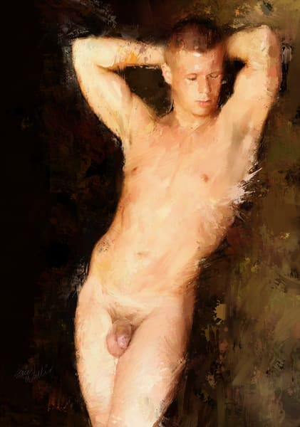 """Naked Man Leaning"" by Eric Wallis."