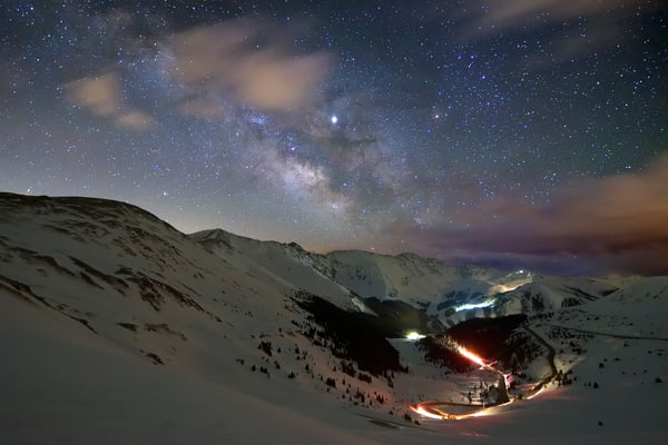 Nighttime Traffic on Loveland Pass