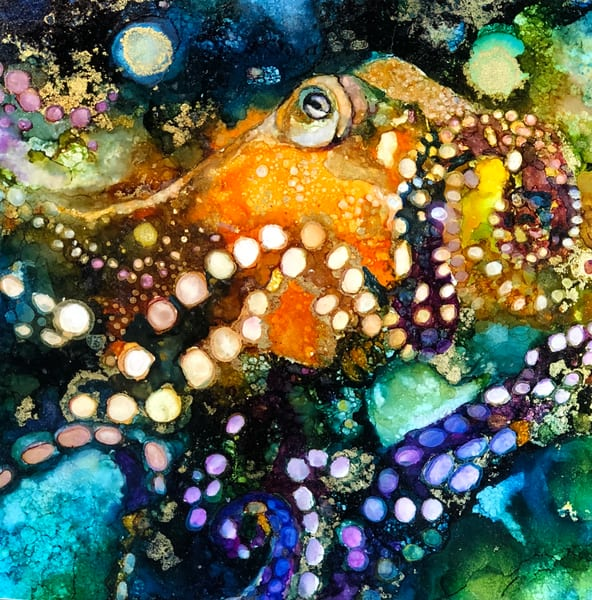 Octopus, fine art print, alcohol ink Heidi Stavinga Studio