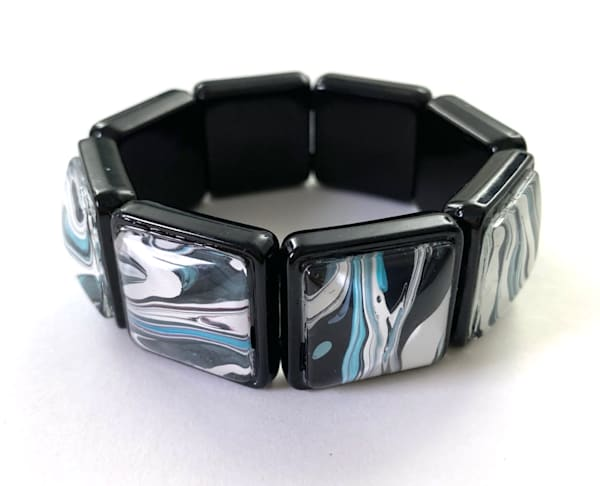 Teal Black White Hand Painted Stretch Bracelet | Deborah Younglao