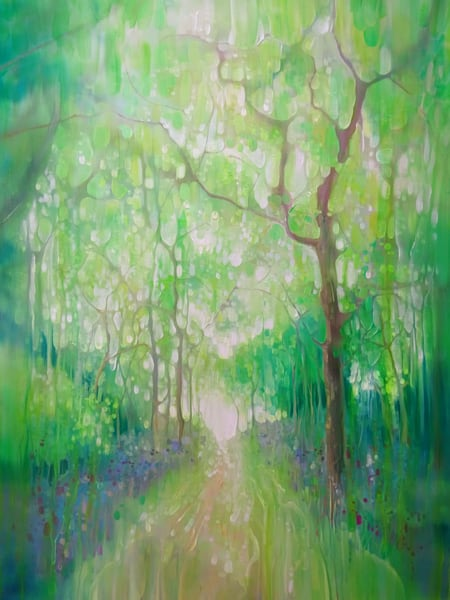 A tall green painting of a path through a green forest in Sussex in springtime