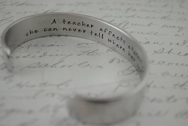 A Teacher Affects Eternity Cuff Bracelet by Kelly Berkey