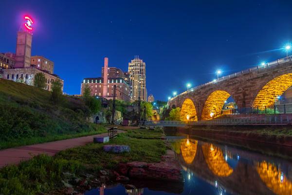 Stone Arch Bridge Reflections - MPLS Skyline Art   William Drew Photography