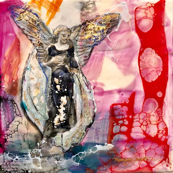 "Gorgeous angel painting ""Love Conquers 26"" encaustic wax and mixed media on wood, 6""x6"" by Monique Sarkessian."