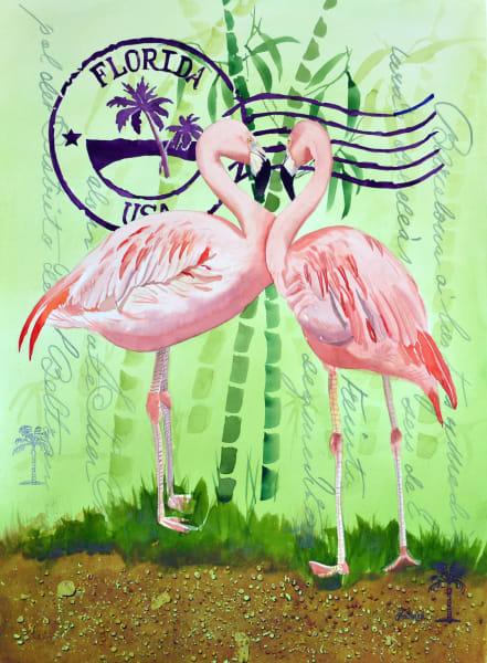 Flamingos at the Sunken Gardens - Watercolor by Shah Hadjebi