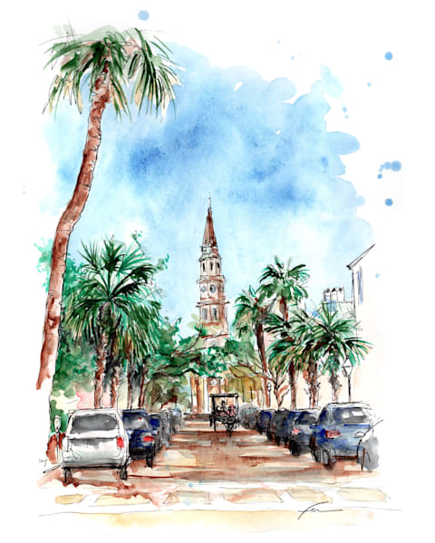 Church Street Watercolor Art Print