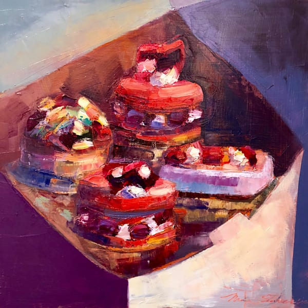 """French Dessert Quartet"" lovely still life of Bistro Barberet french pastries by Monique Sarkessian expressionist oil painting 12""x12"""