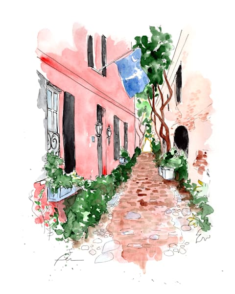 Charleston Cobblestone Alley Watercolor Print